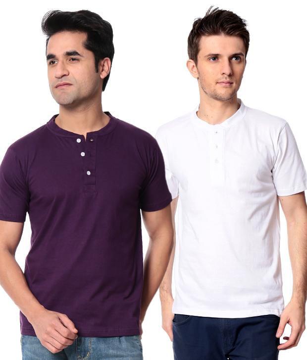 Leana Purple-White Pack Of 2 Half Henley Tshirts