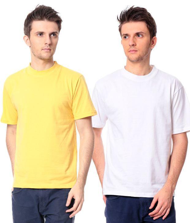 Leana Yellow - White Pack Of 2 Round Neck T Shirts