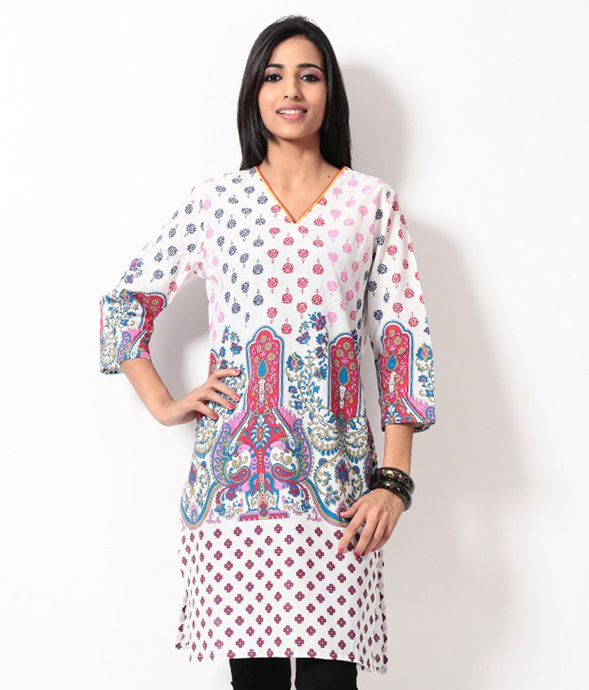 Karigari White Printed Long Kurta