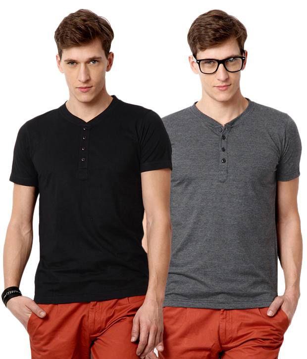 Street Junkies Black Gray Half Combo Of 2 T Shirts Cotton Henley  T-Shirt