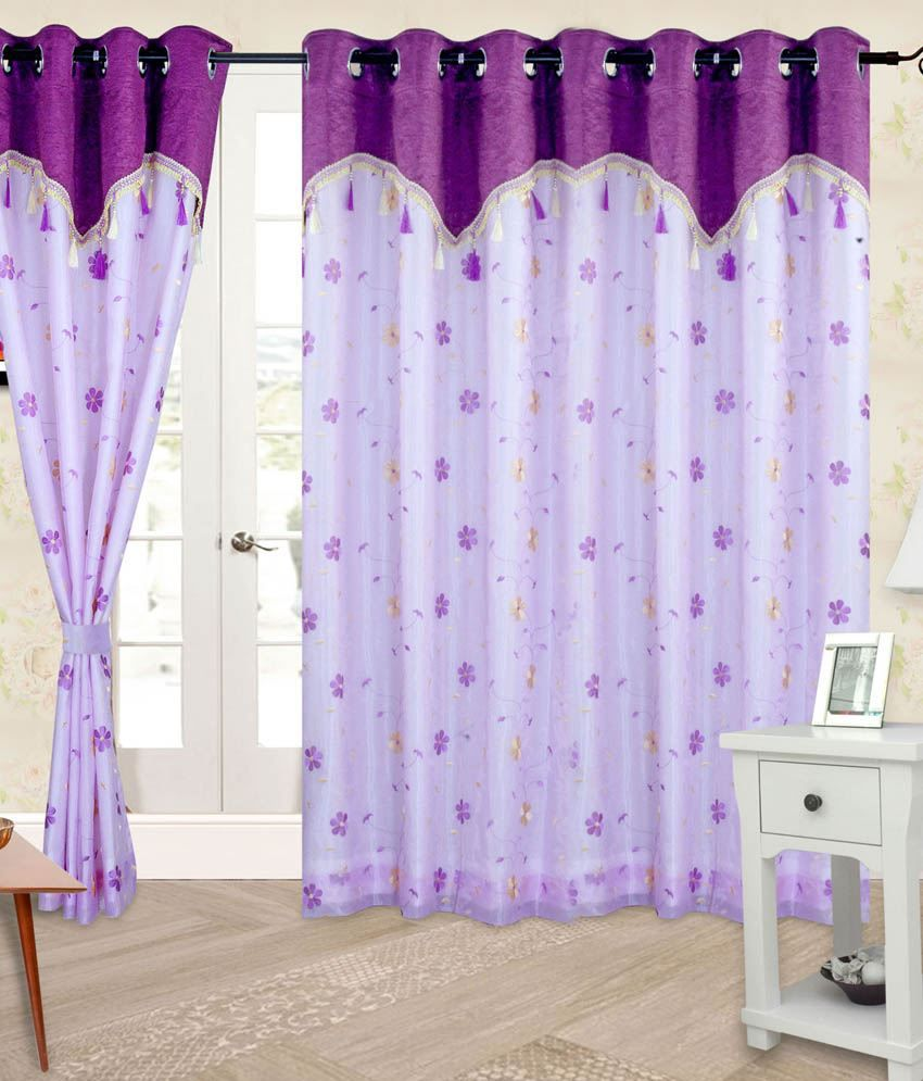 Cortina single door eyelet curtain embroidered purple