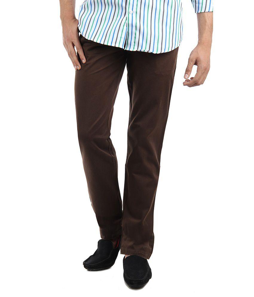 GHPC Men's Slim Fit 100% Cotton D. Brown Chinos