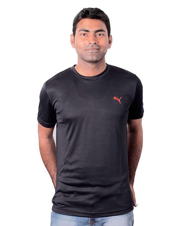 Puma Navy Half Polyester Round T-Shirt