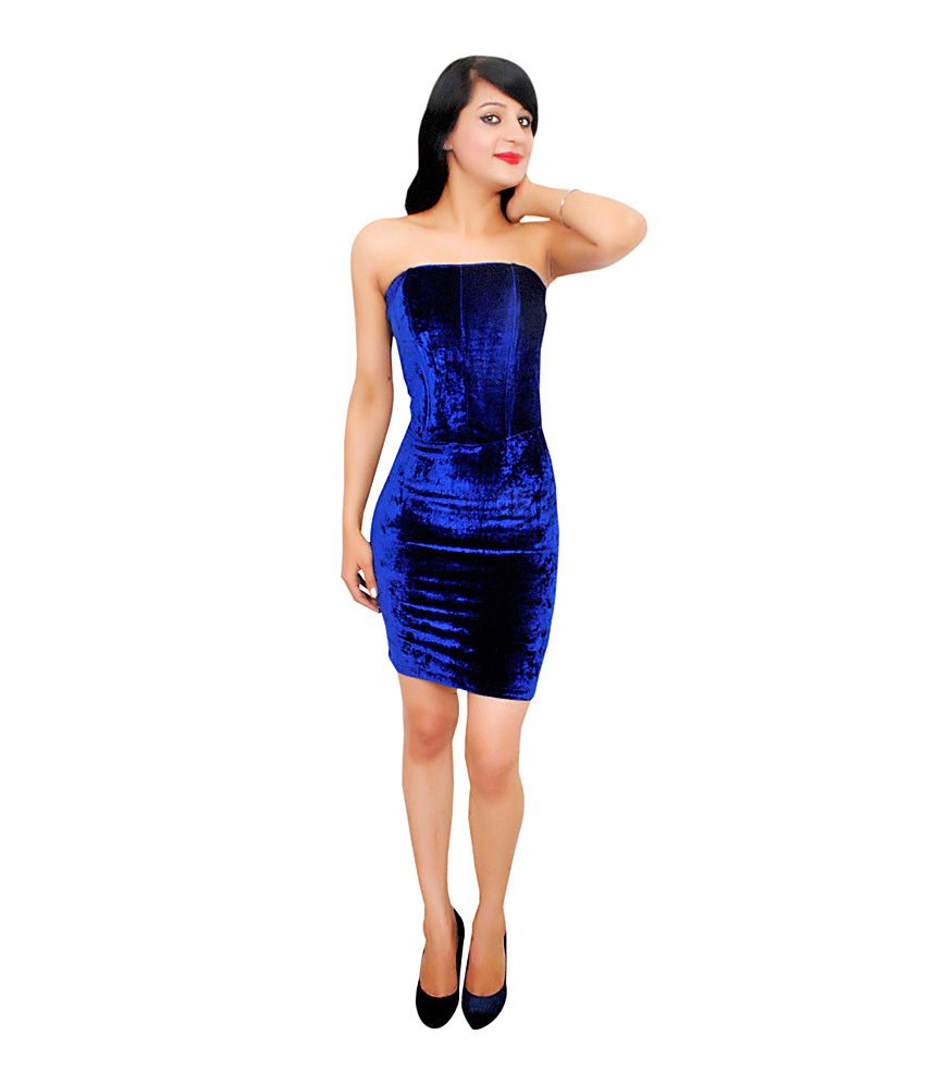 45ecadf216c Reen S Blue Velvet Strapless Dress - Buy Reen S Blue Velvet Strapless Dress  Online at Best Prices in India on Snapdeal