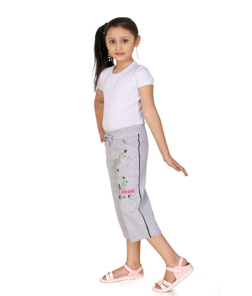 SINIMINI Gray Capris For Girls