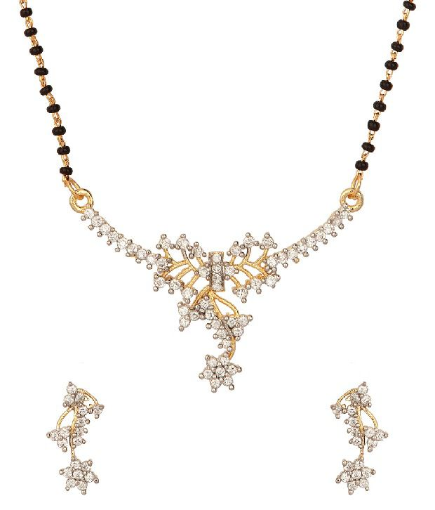 Voylla Floral Gold Plated Mangalsutra Set With Single String, Cz Stones