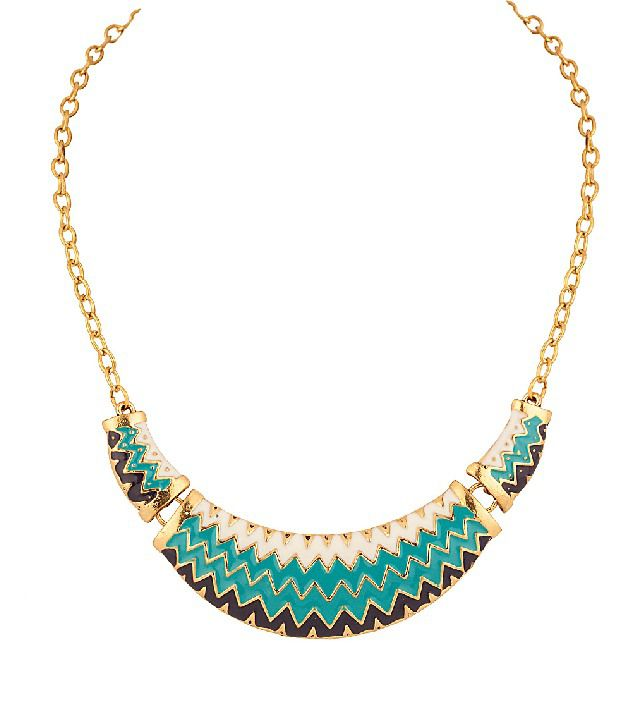 Voylla Gold Plated Crescent Curve Necklace Embellished With Vibrant Enamel Work