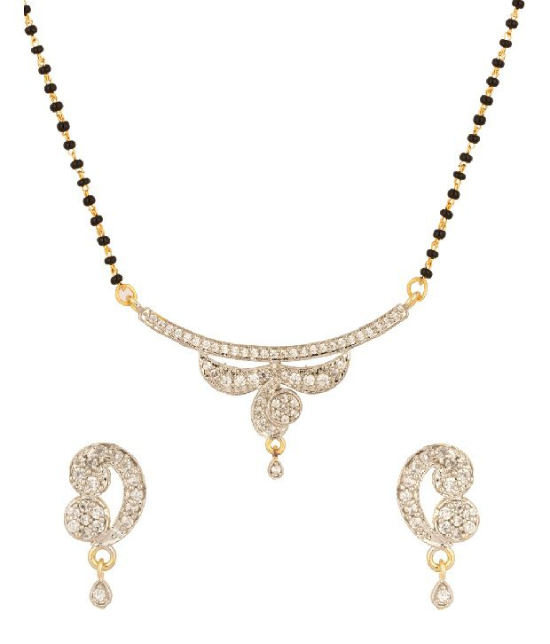 Voylla Gold Plated Single Strand Cz Mangalsutra Set With Brilliant Design