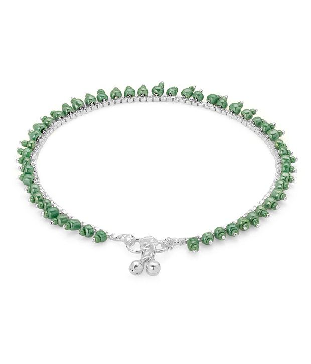 Voylla Remarkable Silver Plated Beaded Anklets