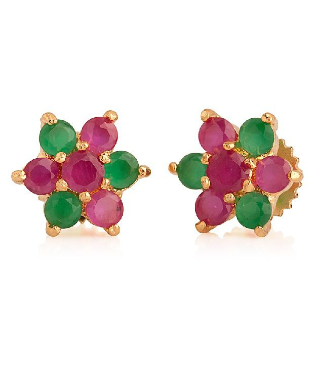 Voylla Studs Featuring Flower Design Synthetic Green Stones, Pink Crystals in Centre