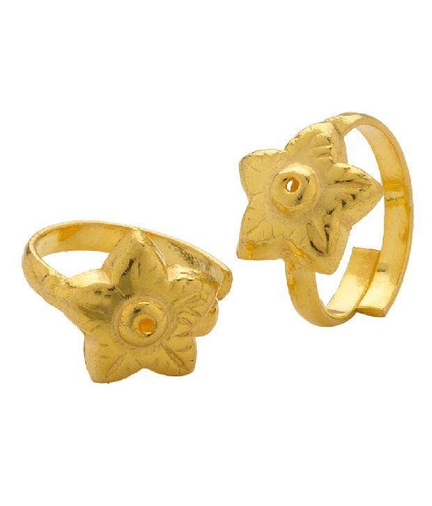 Voylla Toe Ring Pair with Flower Inspired Design, Gold Plating