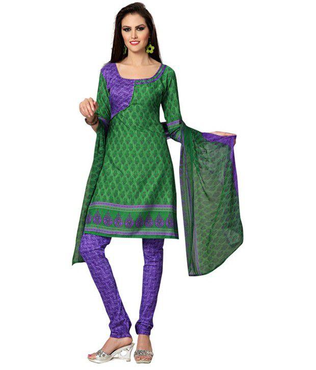 Aaditi Green Printed Art Crepe Dress Material