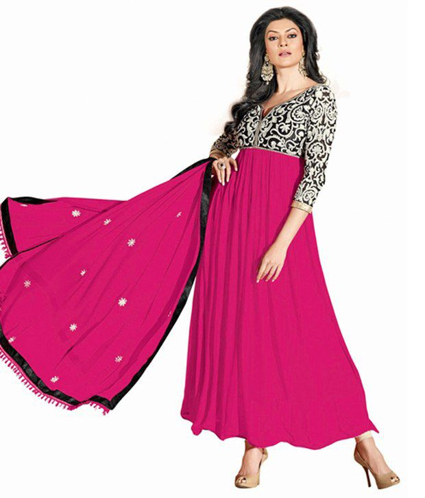 Aaditi Pink Embroidered Pure Georgette Semi-Stitched Anarkali Dress Material
