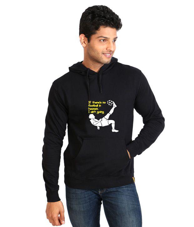 Campus Sutra Black Full Cotton Hooded Sweatshirt