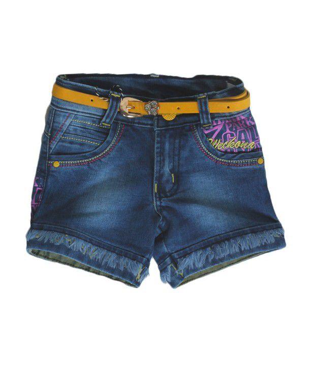 Love Kins Blue Color Solid Shorts For Kids