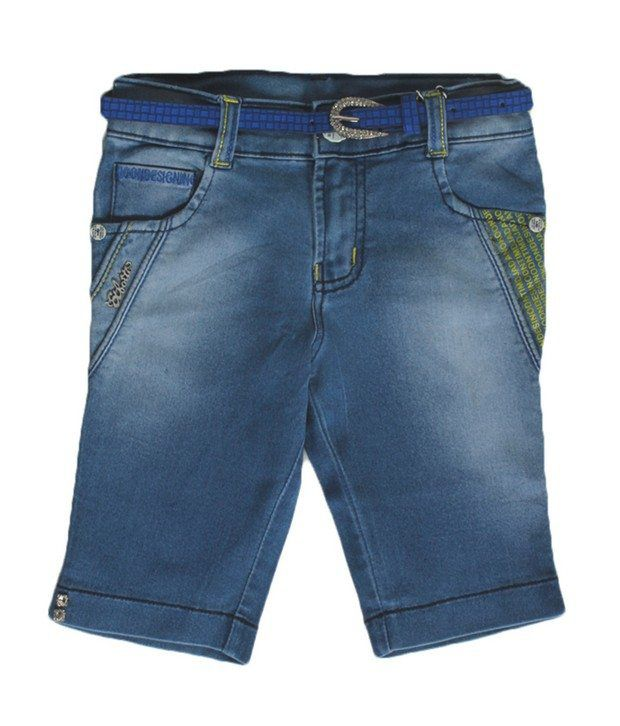 Love Kins Blue Color Solid Capri For Kids