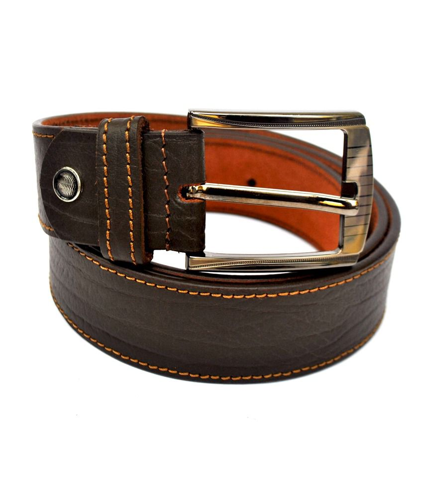 Professional Basic Casual Leather Belt-Neck Stitch-Brown :100% Genuine Leather