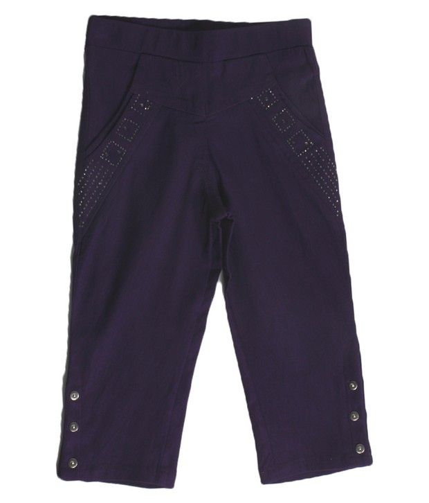 Purple Nasty Wine Color Solid Capri For Kids