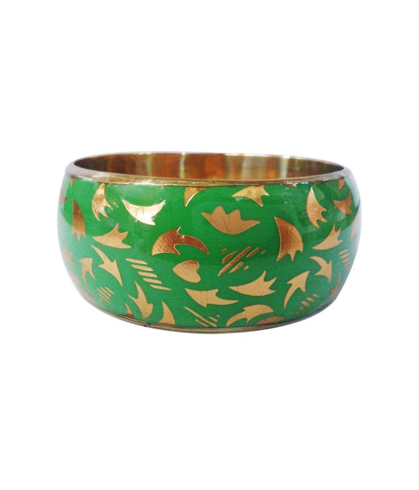 Decor Tattva inc Green & Golden Brass Bangle