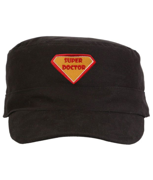 Campus Sutra Black Cotton Military Cap Men