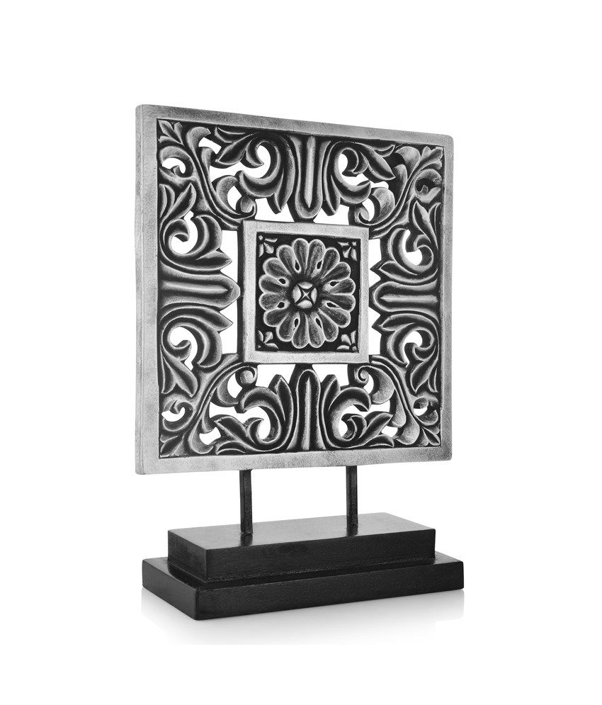 Gifts and Souvenirs Flower Black FRP, Wooden Stand Showpieces