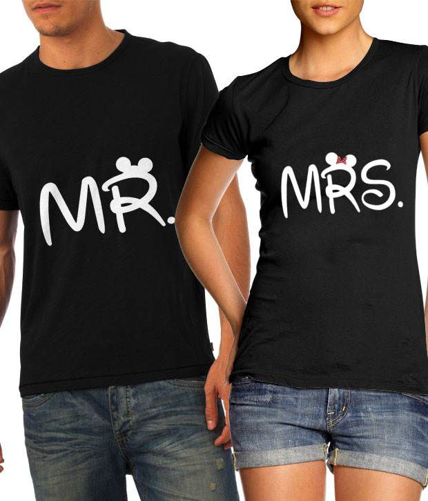 22646e33c3 Buy Cute Mr and Mrs in Black Couple T Shirts Online at Best Prices in India  - Snapdeal