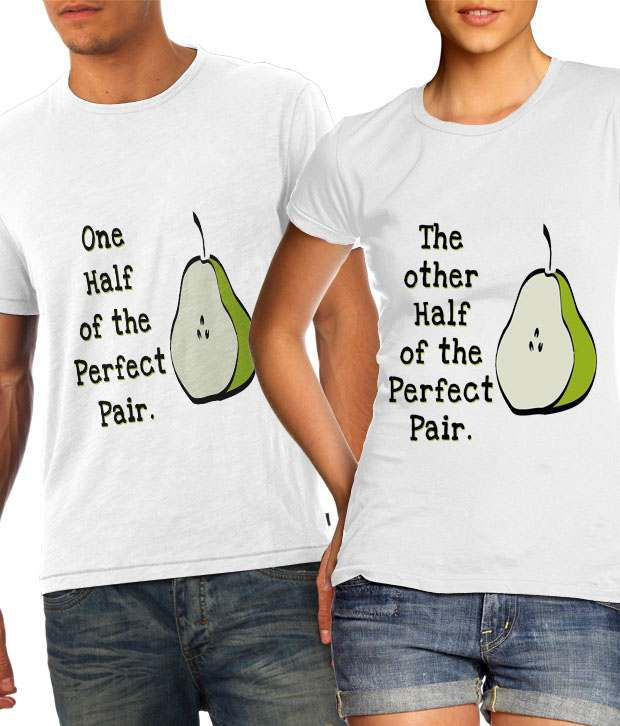 Buy better half of perfect pair couple t shirts online at for Couple printed t shirts india