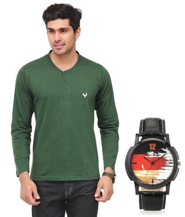 Phoenix Green Full Cotton Henley  T-Shirt