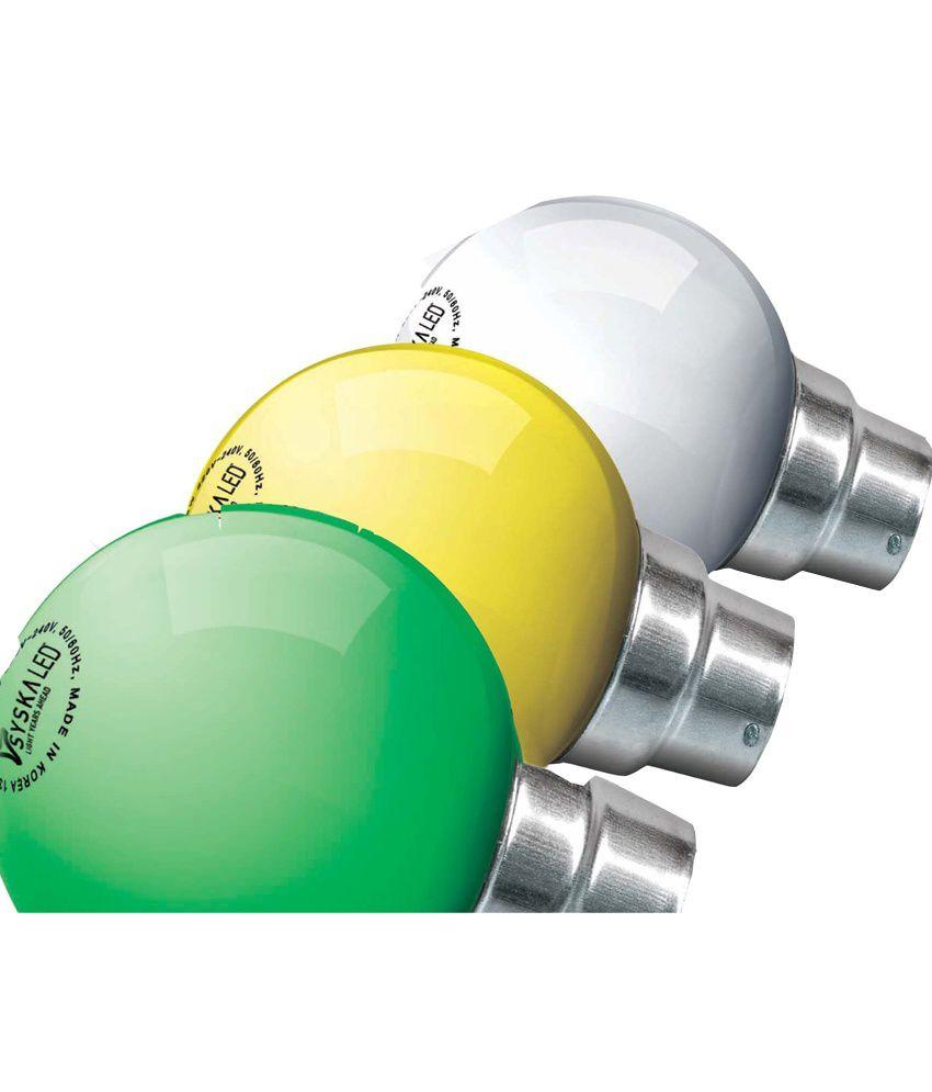 Syska 0.5 w B-22 Base Yellow, White and Green LED Lights
