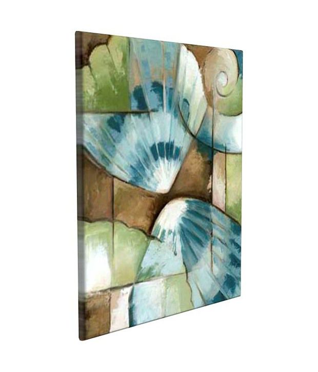 Artjini Shell Collage II Multicolour Canvas, Frame - Wood Paintings-Abstract