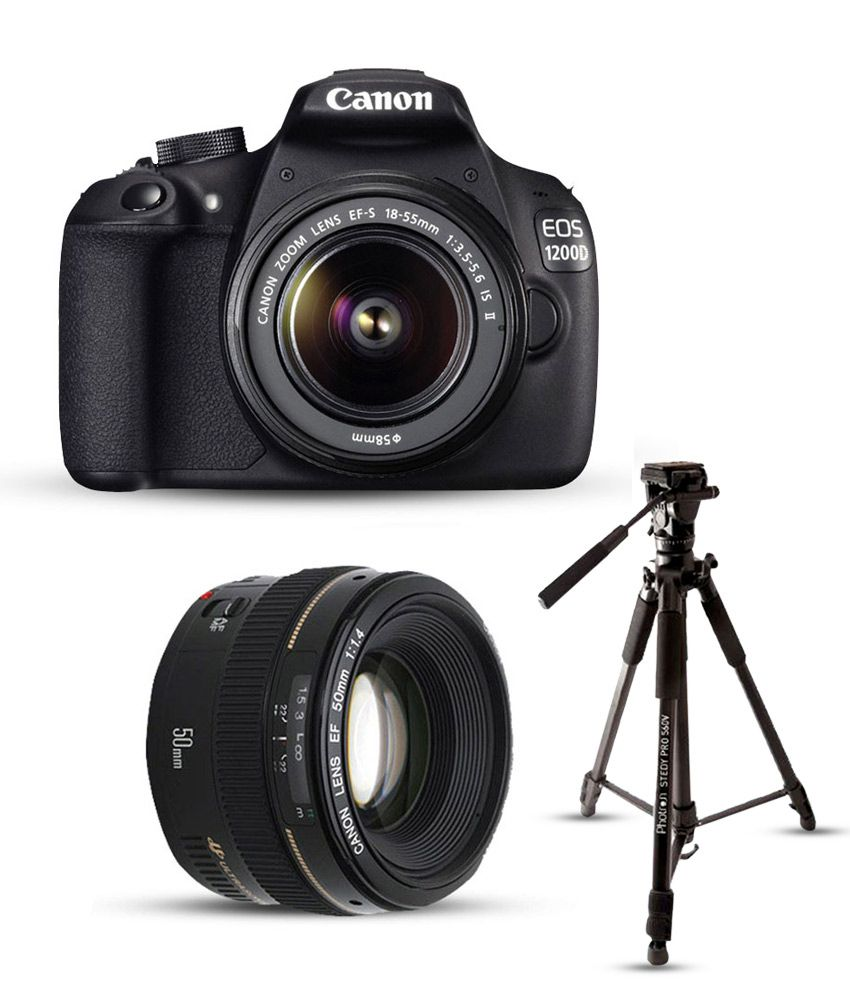 Canon 1200D with EF-S 18mm-55mm IS II Lens + EF 50mm f/1 8 II Lens , Memory  card and Bag