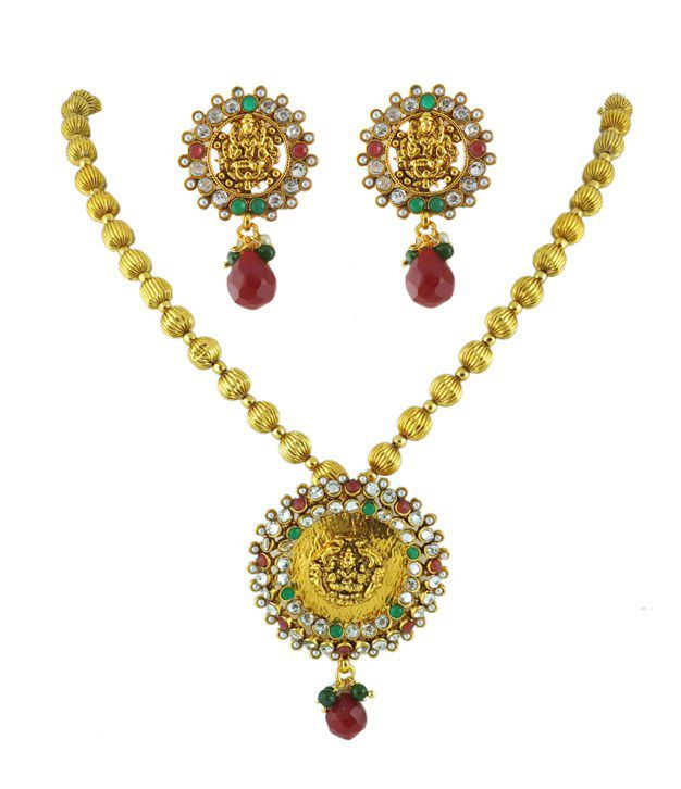 Golden Collections Gold Ball Multi Necklace Set
