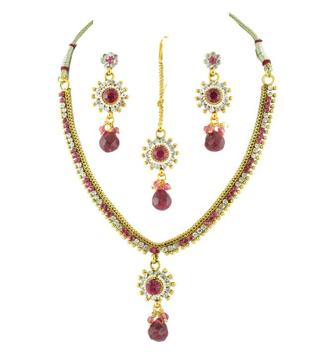 Golden Collections Pink Necklace Set