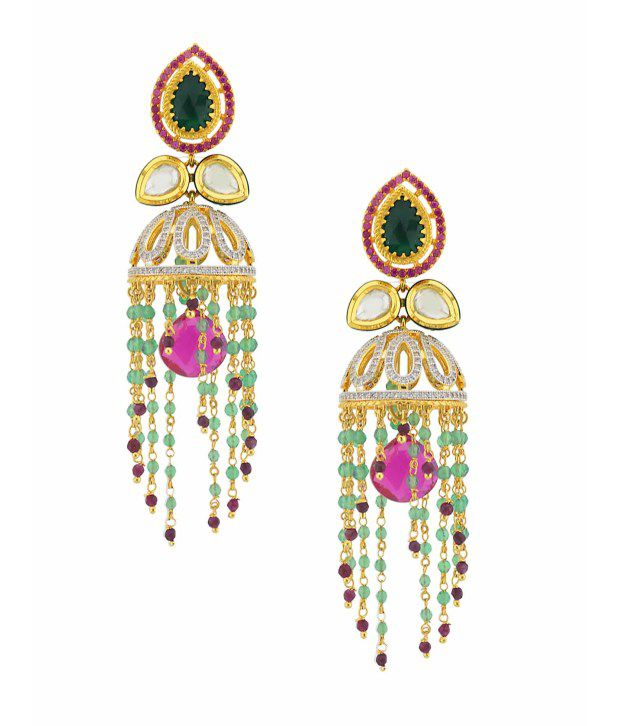 Orniza Uncut Stones Chandelier Jhumka Vilandi Earrings