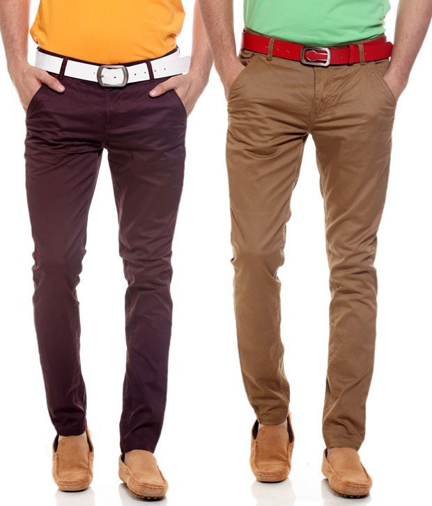 Fashion Brown Regular Casuals Chinos
