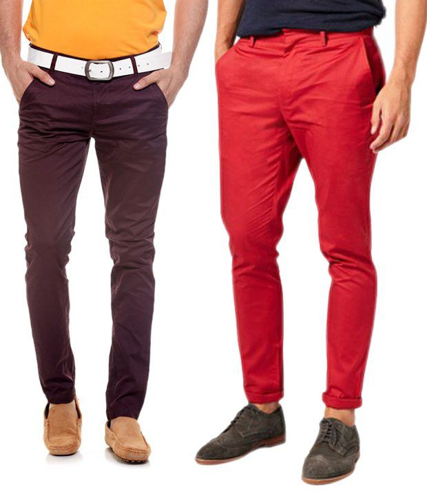 Fashion Red Regular Casuals Chinos