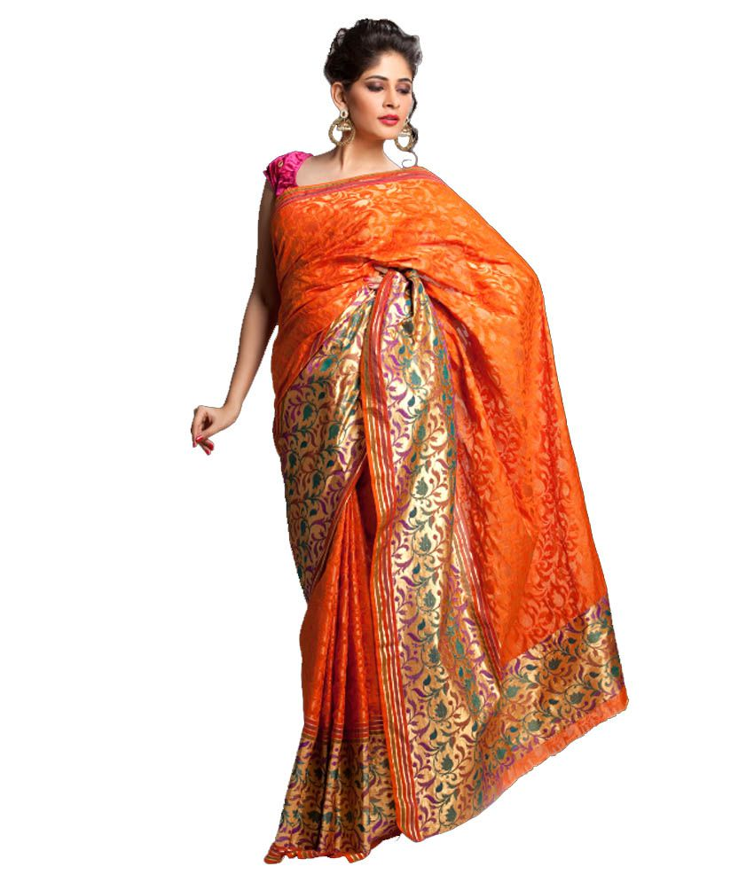 Kataan Bazaar Orange Color Banarasi Chanderi Saree with Copper Zari, Resham & Golden Zari Work