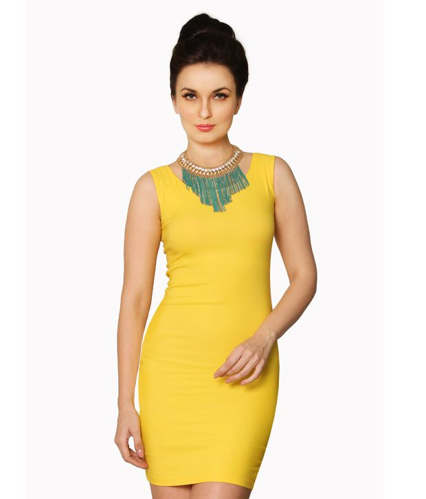 Miss Chase Polyester Yellow Bodycon Dress