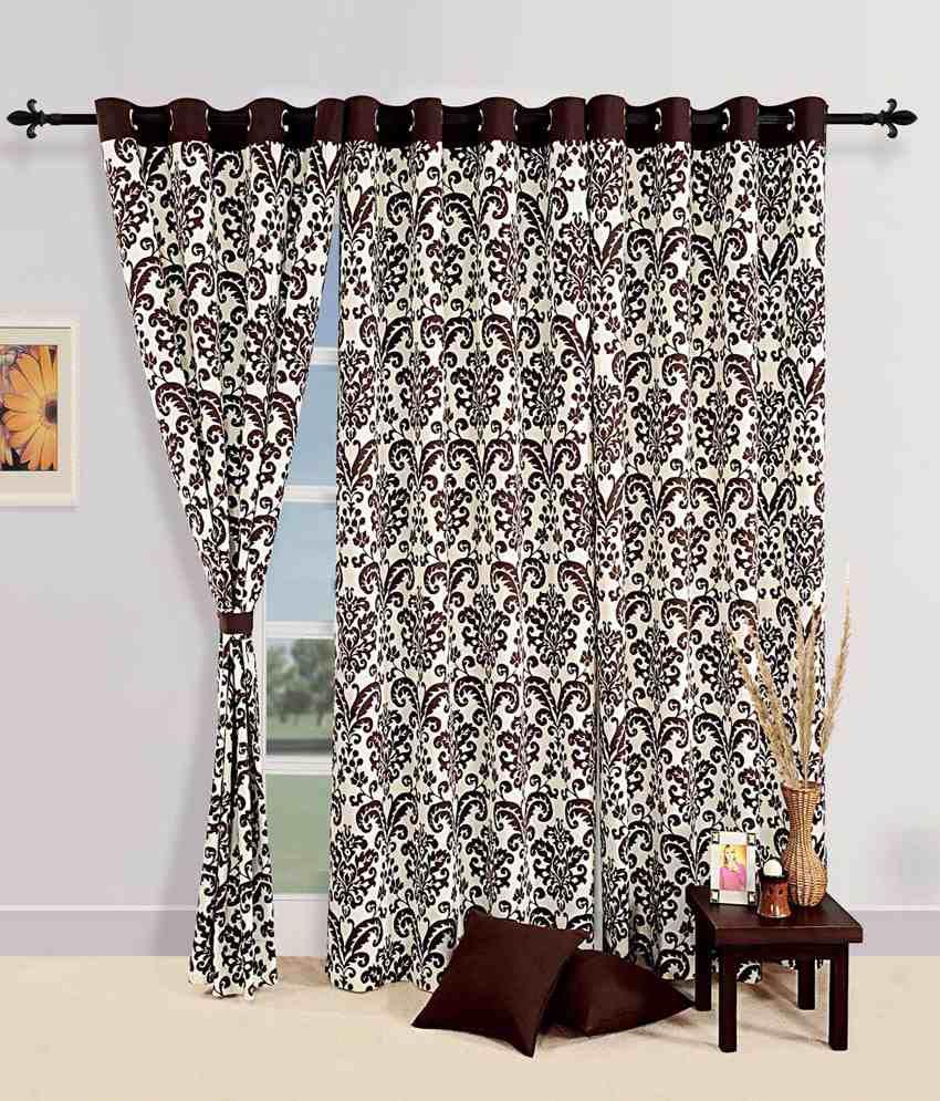Swaym Choco Premium Eyelet Printed Curtain With Lining