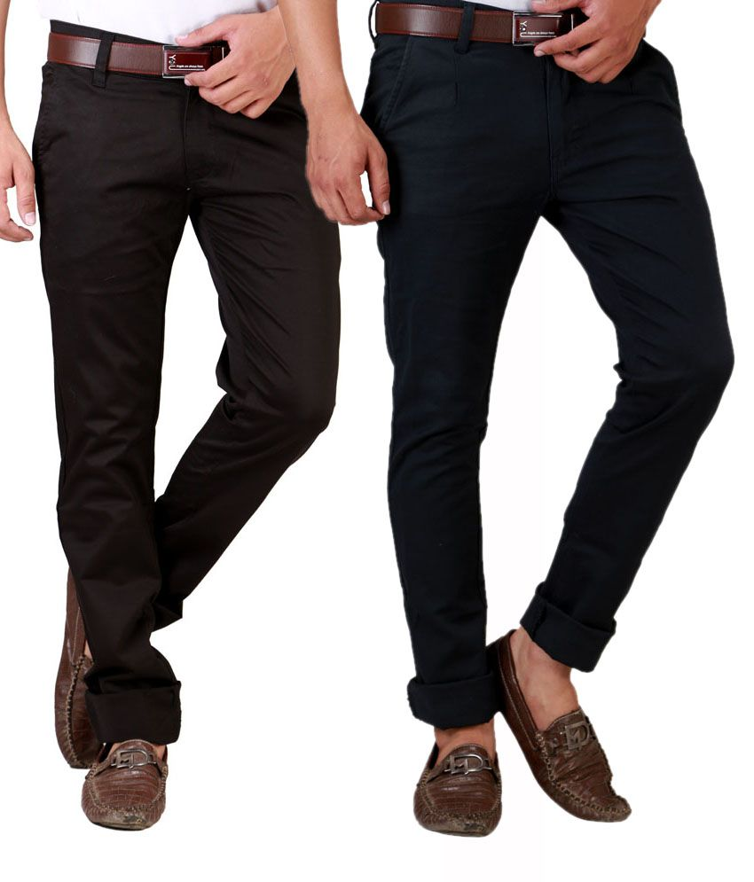 Sam & Jazz Jet Black & Coffee   Brown Regular Casuals Combo of 2   chinos