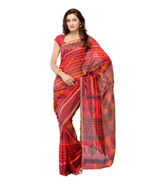 Ambaji Red Cotton Saree