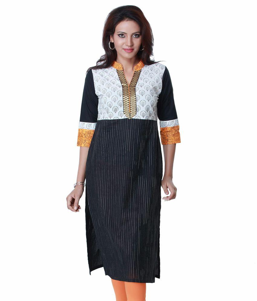 Ark Black Printed Cotton 3/4th Sleeves Long  Kurti