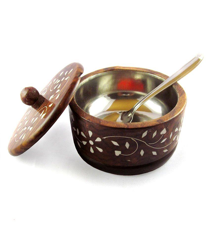 PINDIA Sugar bowl Brown Wood Utility Decoratives