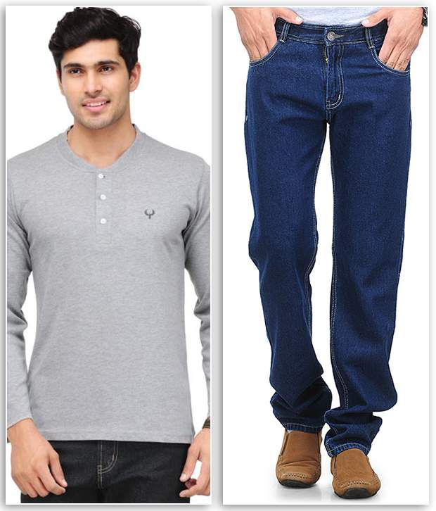 Phoenix Combo Of 1 Gray Henley T Shirt And 1 Navy Regular Fit Jeans