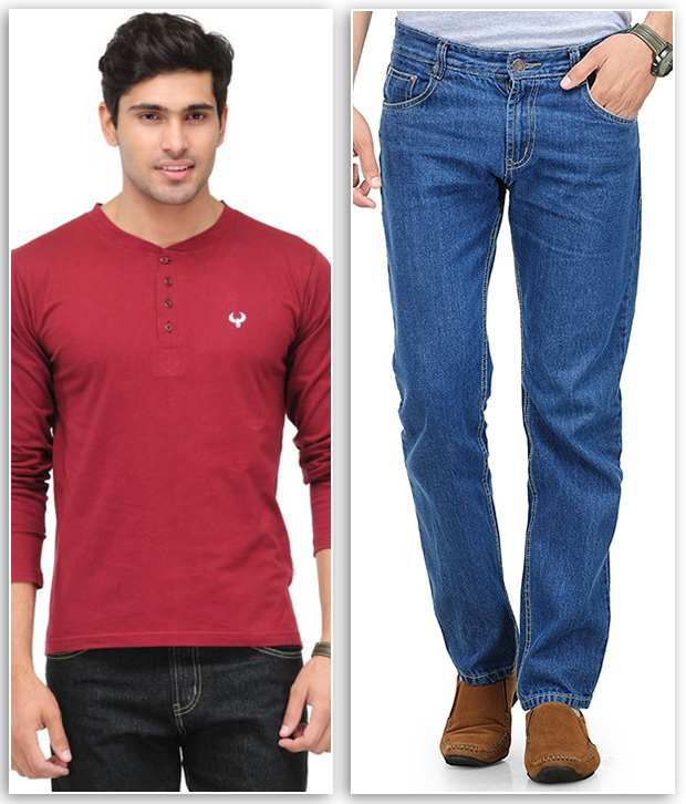 Phoenix Combo Of 1 Maroon Henley T Shirt And 1 Blue Regular Fit Jeans