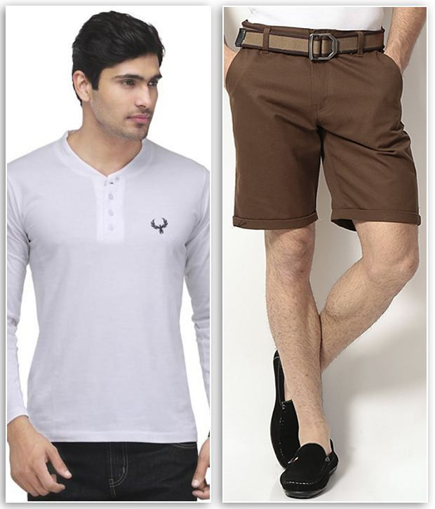 Phoenix Combo Of 1 White Henley T Shirt & 1 Brown Cotton Solid Shorts