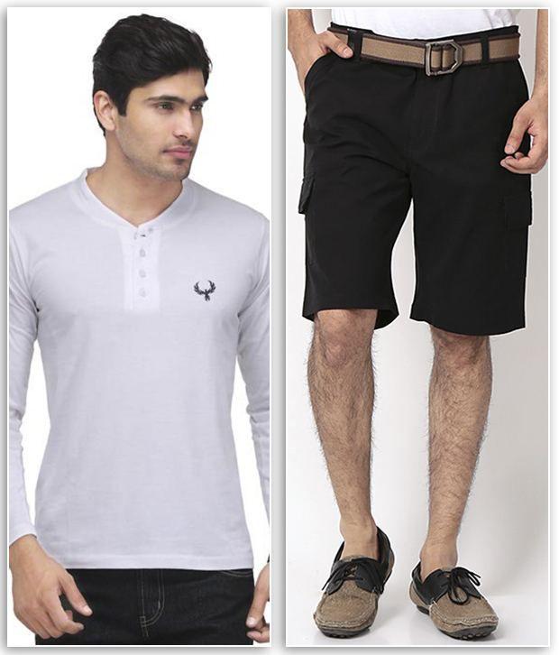 Phoenix Smart Combo Of 1 White Henley T Shirt & 1 Black Cotton Solid Shorts