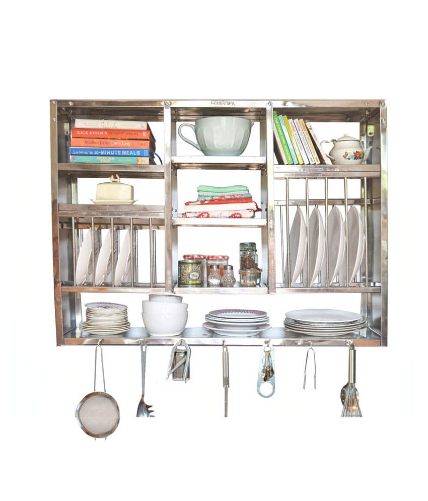 Kitchen Wall Accessories Stainless Steel: Buy Bharat Gloss Finish Stainless Steel Kitchen Rack 30X42