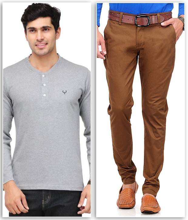 Phoenix Combo Of 1 Grey Henley T Shirt And 1 Brown Slim Fit Chinos