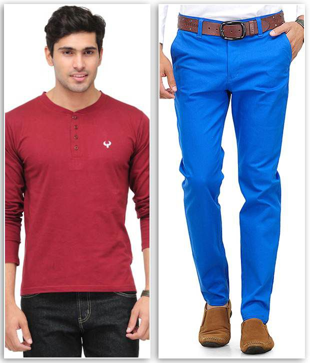 Phoenix Combo Of 1 Maroon Henley T Shirt And 1 Blue Slim Fit Chinos